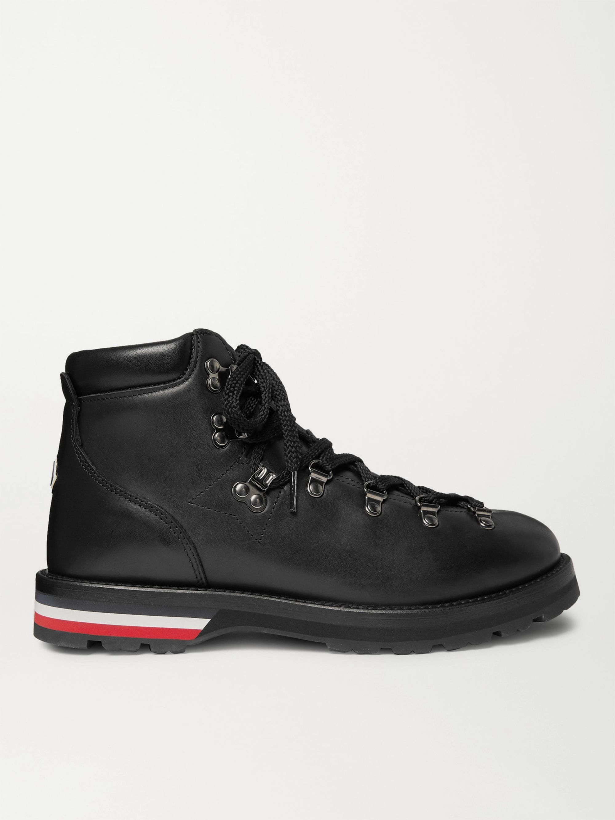MONCLER Striped Full-Grain Leather Boots