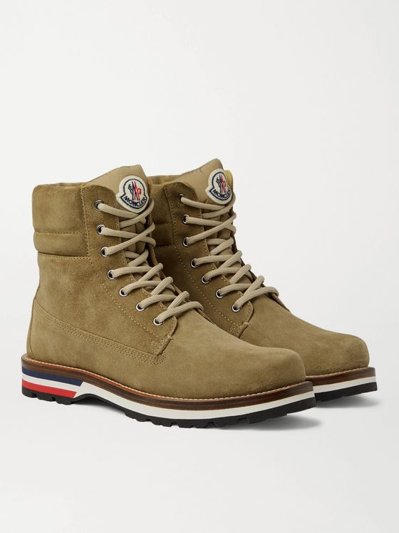 MONCLER Vancouver Striped Suede Hiking Boots