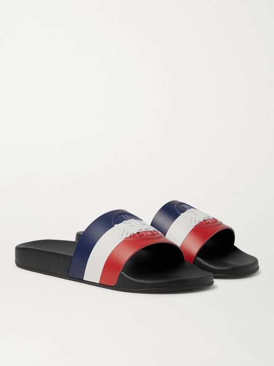 MONCLER Basile Logo-Embossed Striped Rubber Slides