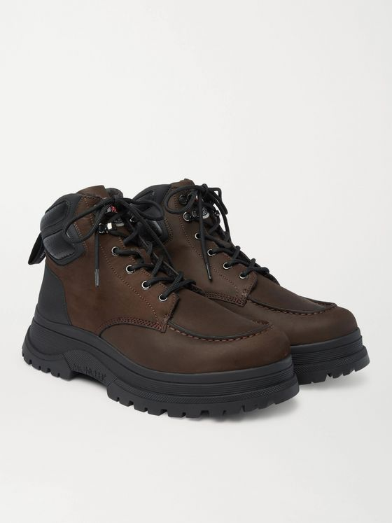MONCLER Ulderic Leather-Trimmed Shearling-Lined Nubuck Boots