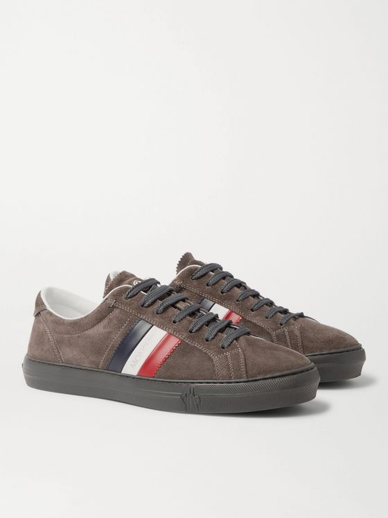Moncler New Monaco Suede and Leather Sneakers