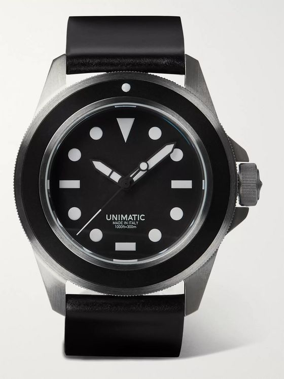 UNIMATIC U1-FM Brushed Stainless Steel and Leather Watch