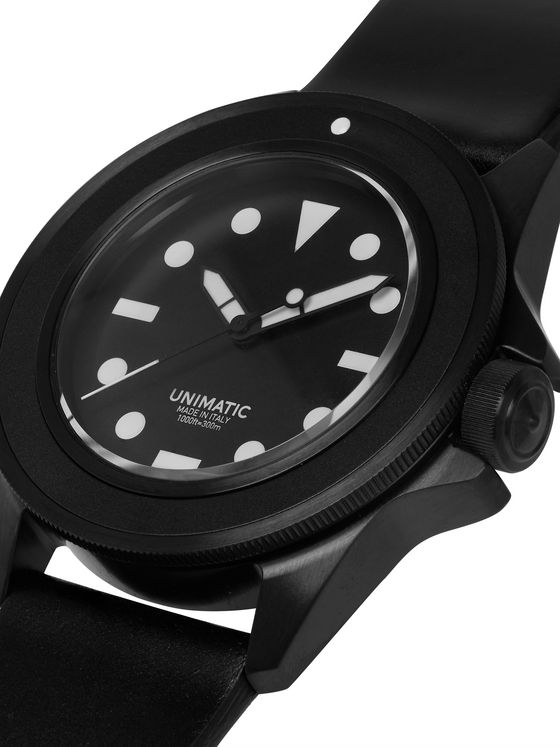 UNIMATIC Limited Edition Stainless Steel and Leather Watch