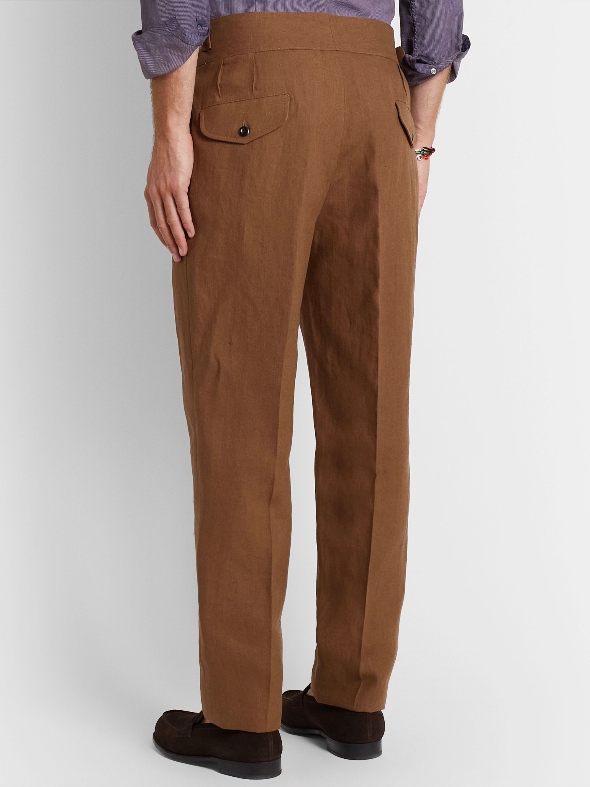 Rubinacci Manny Pleated Linen Trousers