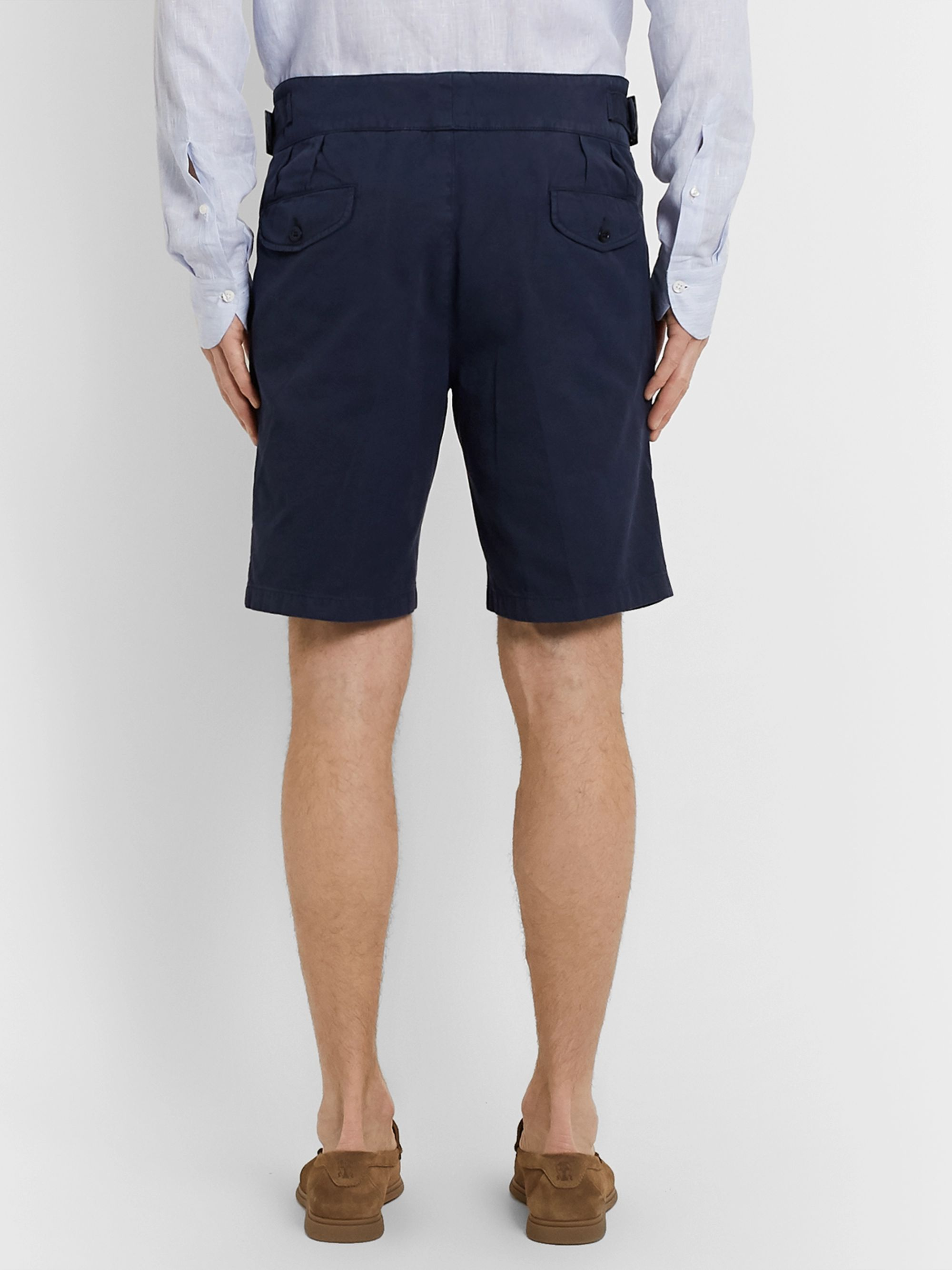 Rubinacci Manny Garment-Dyed Pleated Cotton-Twill Shorts