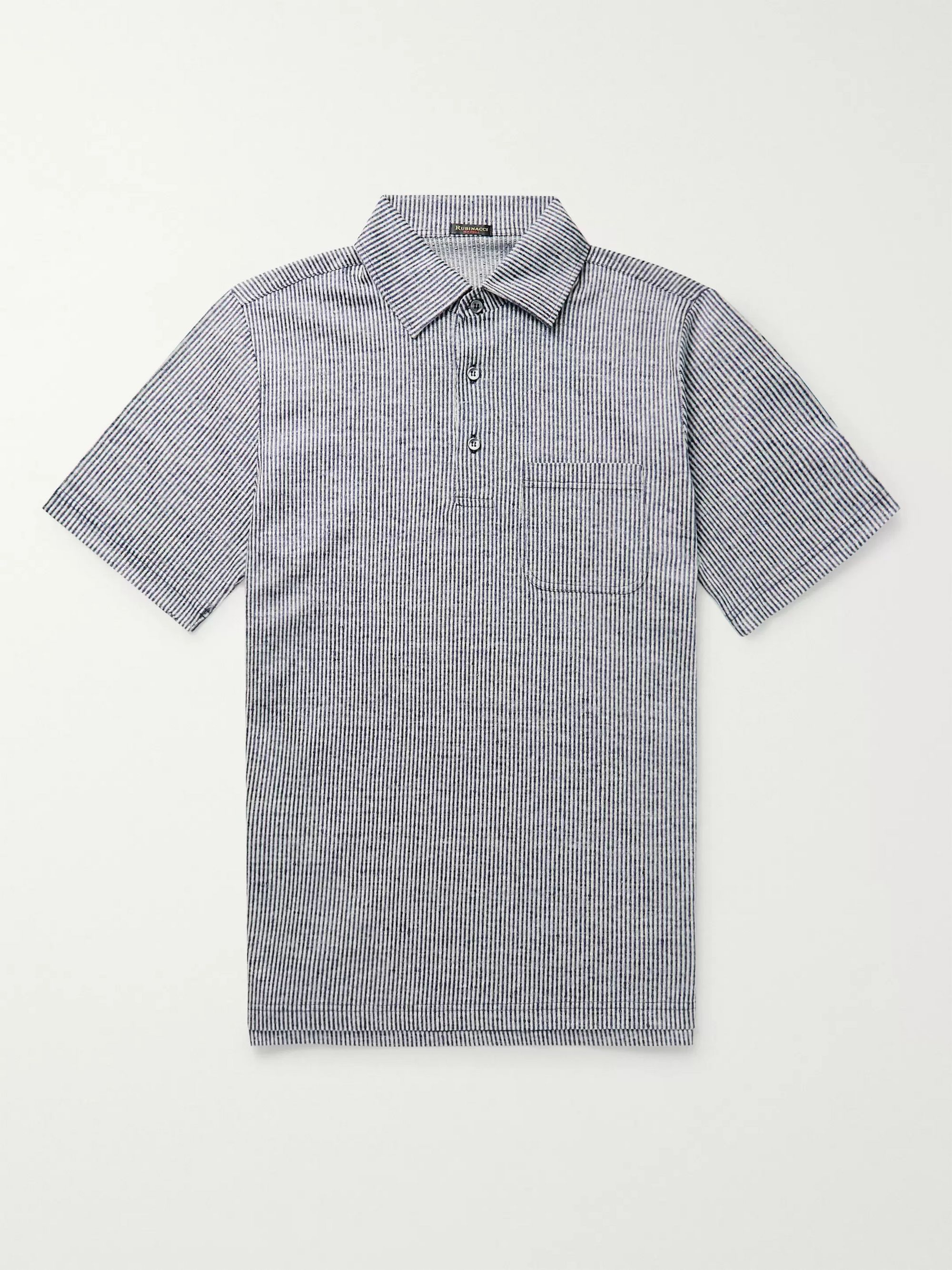 Rubinacci Striped Slub Linen Polo Shirt