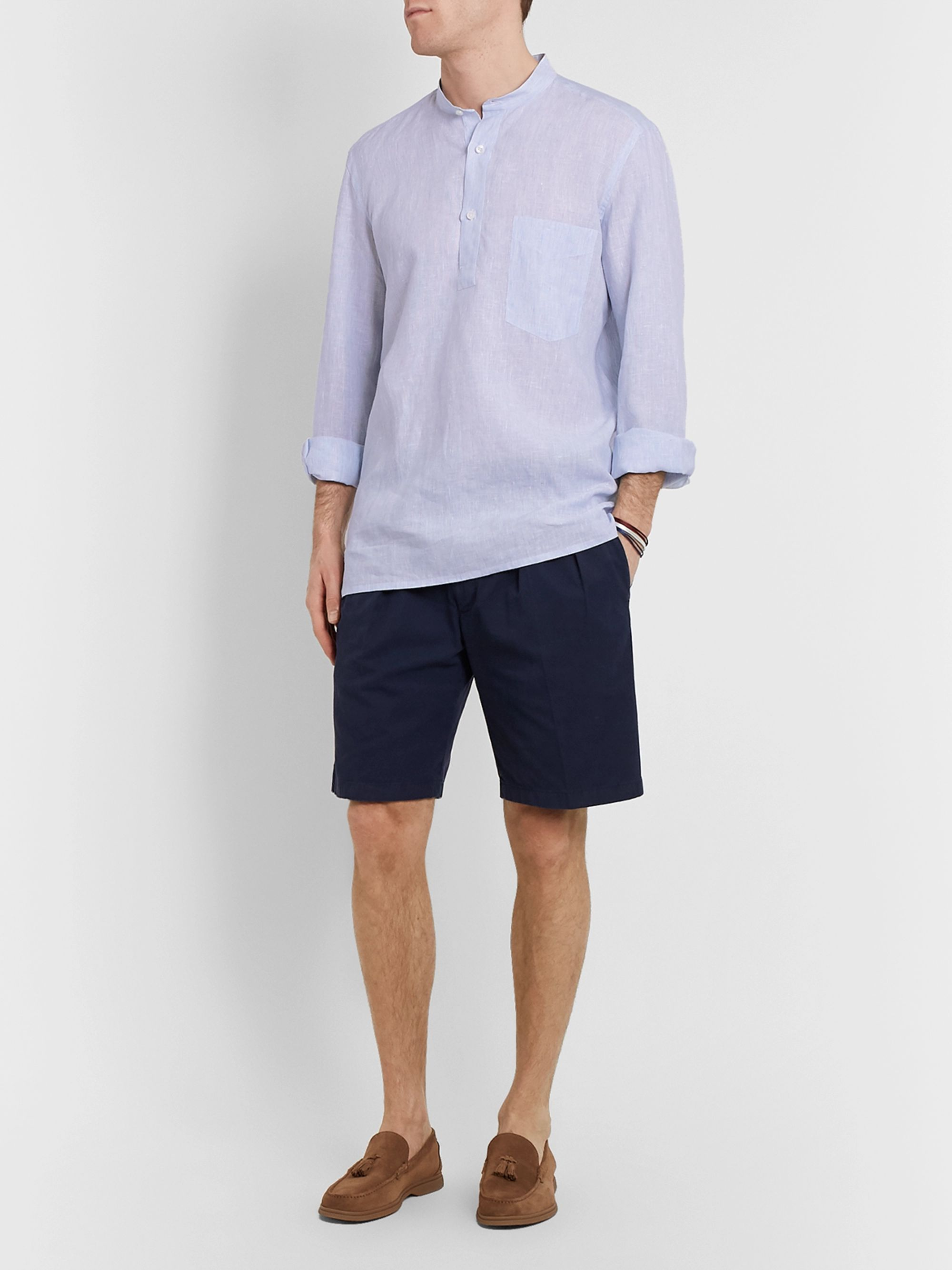 Rubinacci Guru Grandad-Collar Striped Linen Half-Placket Shirt