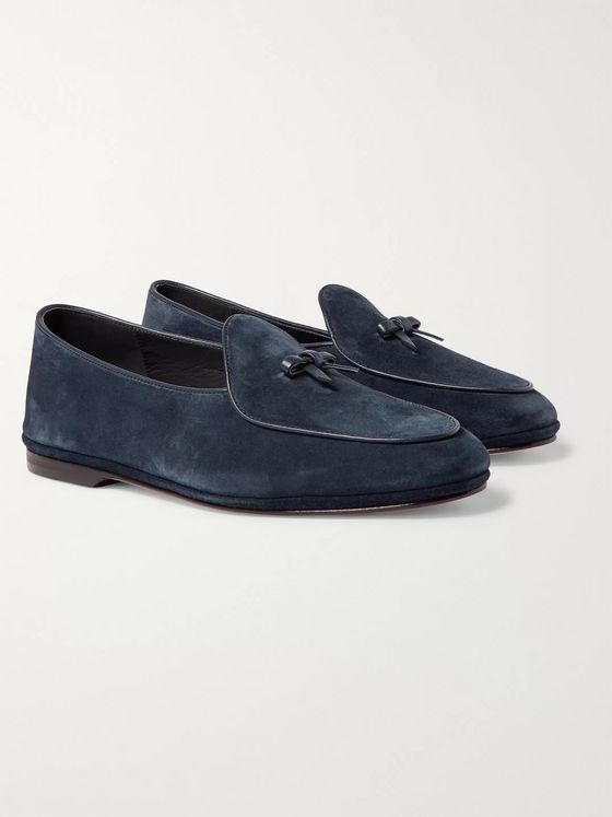 Rubinacci Marphy Leather-Trimmed Suede Tasselled Loafers