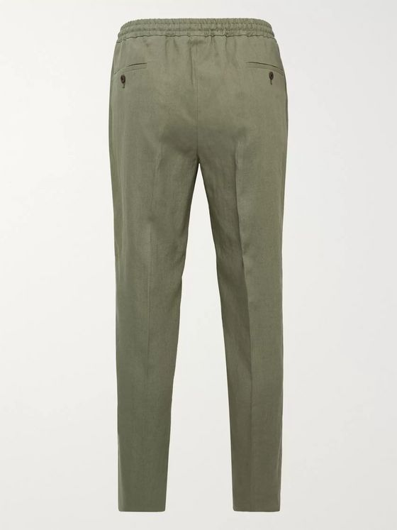 Rubinacci Tapered Pleated Linen Drawstring Trousers