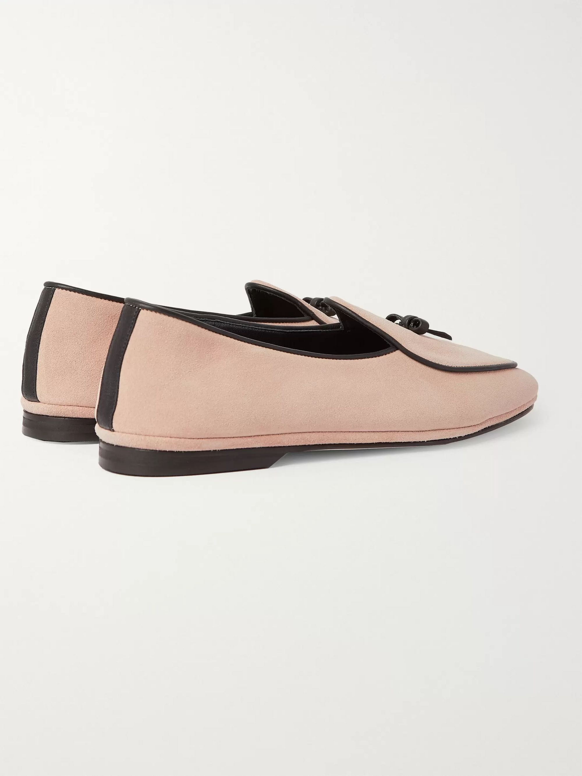 Beige Marfy Embellished Leather-trimmed Suede Loafers | Rubinacci