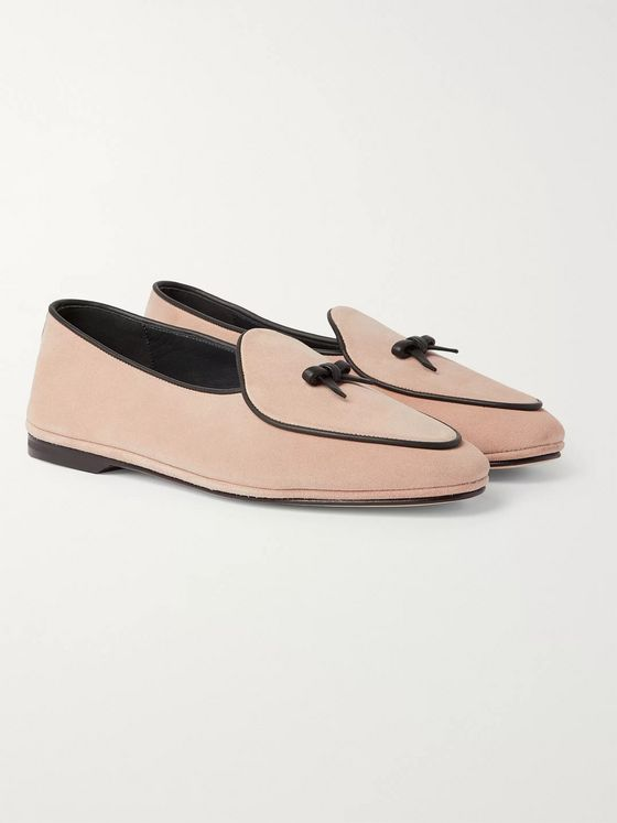 Rubinacci Marfy Embellished Leather-Trimmed Suede Loafers