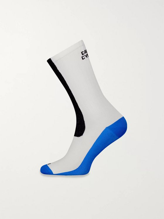 Cafe du Cycliste Logo-Jacquard Colour-Block Stretch-Knit Socks