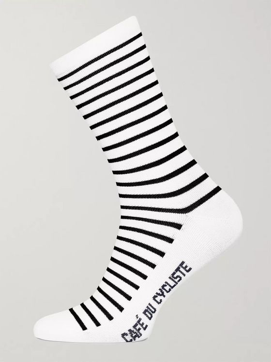 Cafe du Cycliste Striped Merino Wool-Blend Cycling Socks