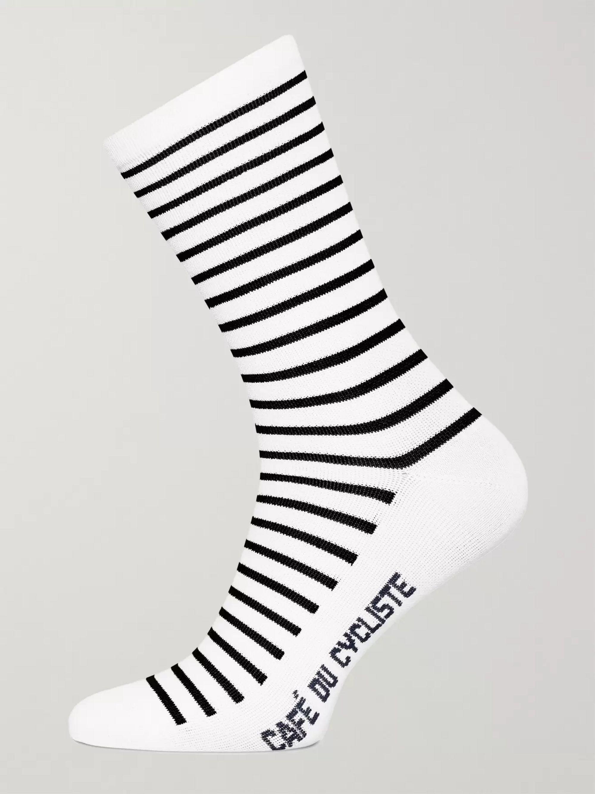 Cafe du Cycliste Striped Merino Wool-Blend Cycling Socks
