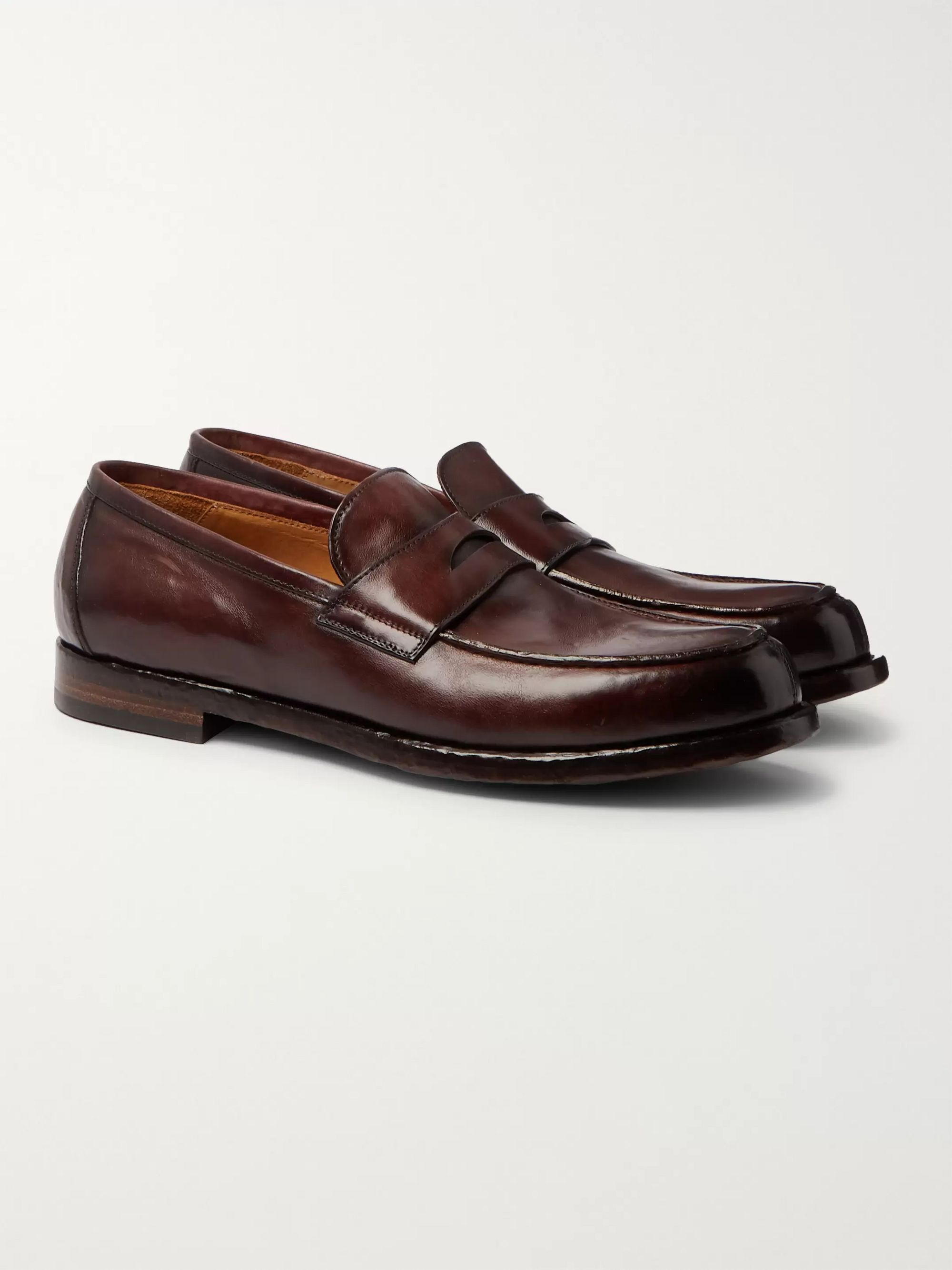 Burgundy Vine Leather Penny Loafers