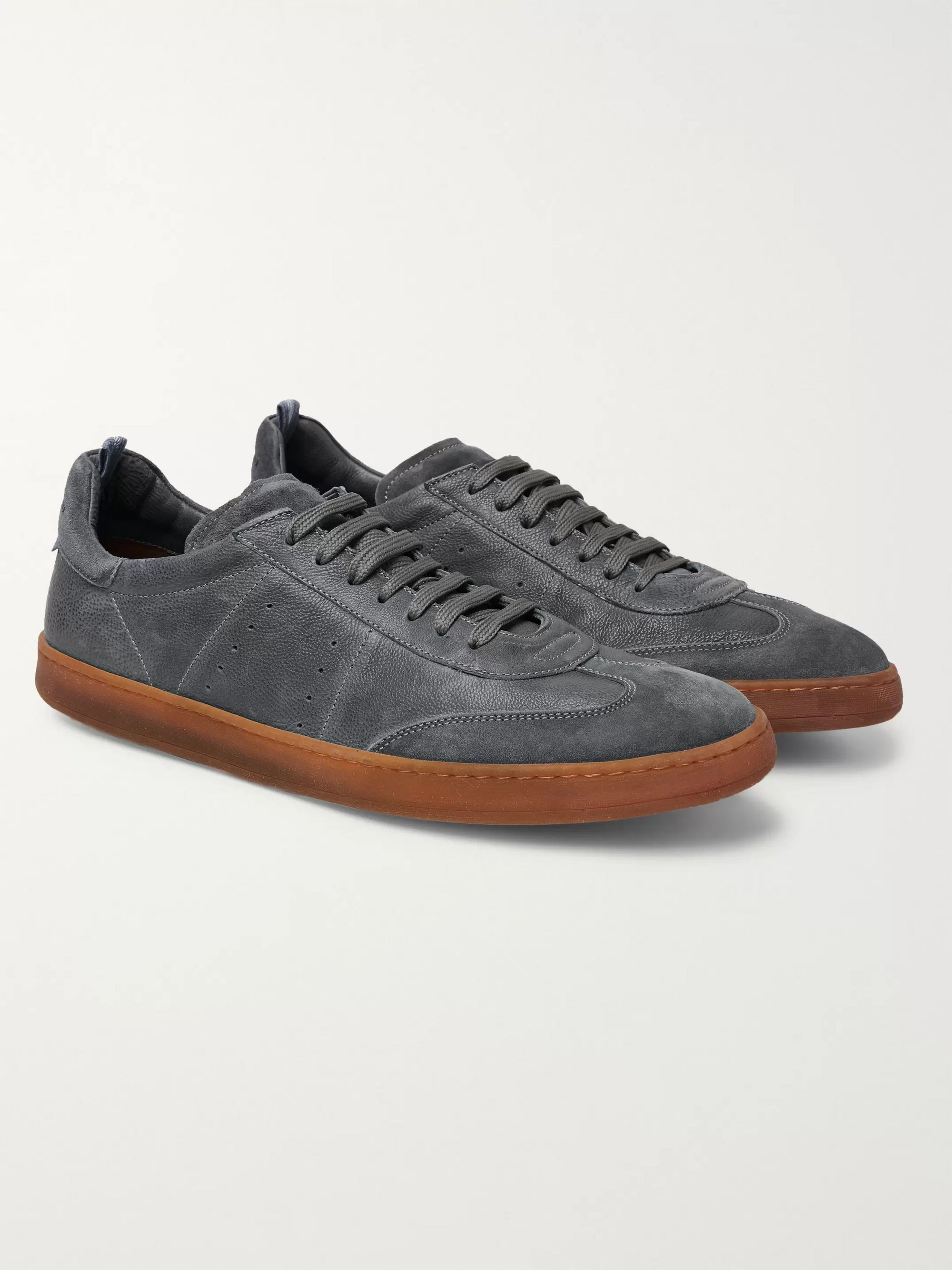 Officine Creative Kombo Nubuck-Trimmed Leather Sneakers