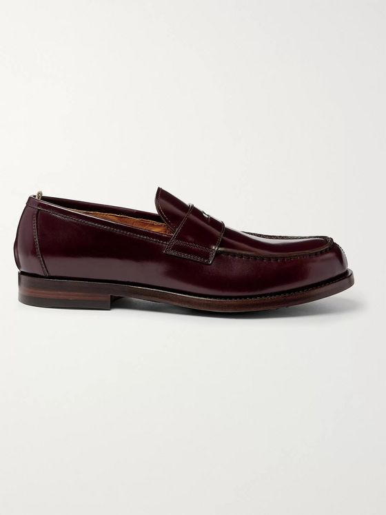 OFFICINE CREATIVE Vine Cordovan Leather Penny Loafers