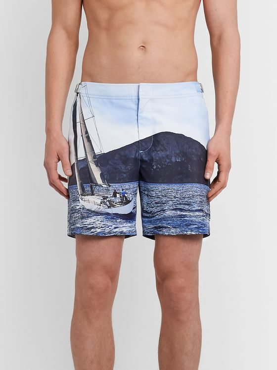 Orlebar Brown + IWC Schaffhausen Bulldog Mid-Length Printed Swim Shorts