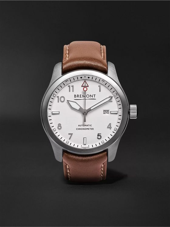 BREMONT SOLO White Automatic 43mm Steel and Leather Watch, Ref. SOLO43-WS-R-S