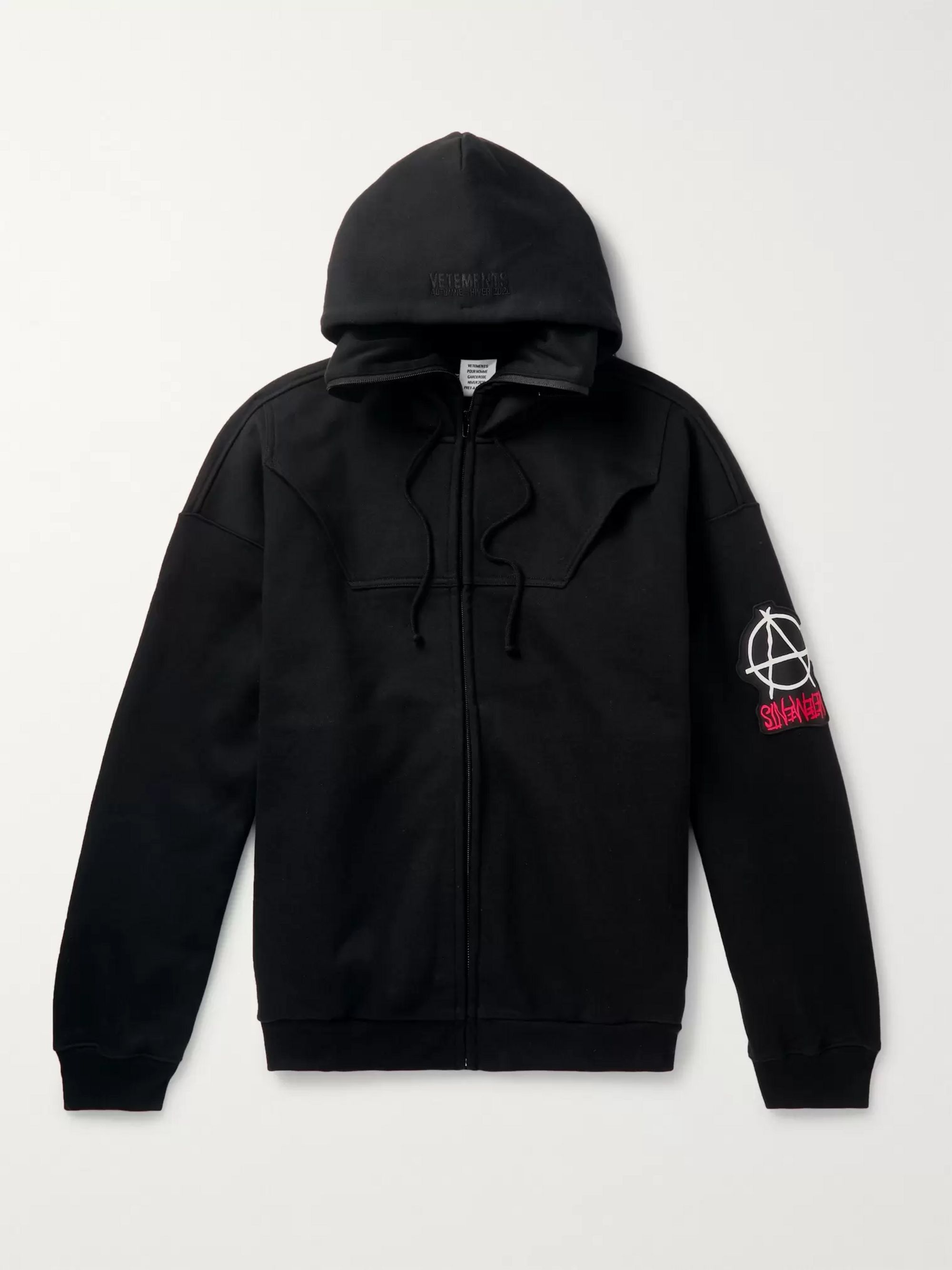 Logo Appliquéd Fleece Back Cotton Jersey Zip Up Hoodie by Vetements