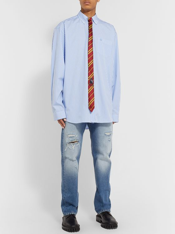Vetements Oversized Tie-Trimmed Striped Cotton Shirt