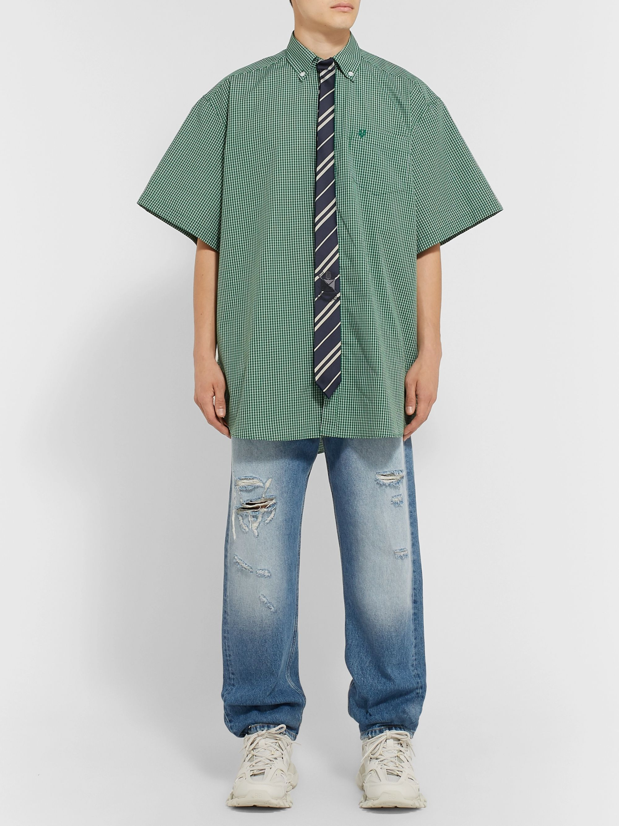 Vetements Oversized Tie-Trimmed Checked Cotton Shirt