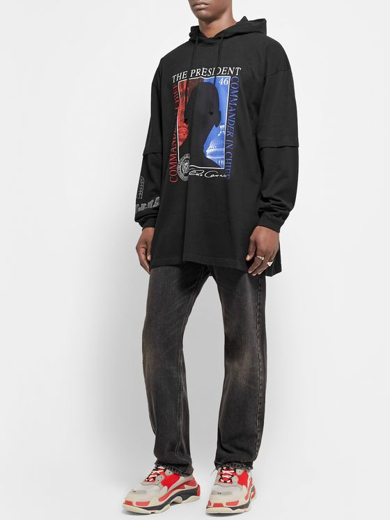 Vetements Oversized Printed Cotton-Jersey Hoodie