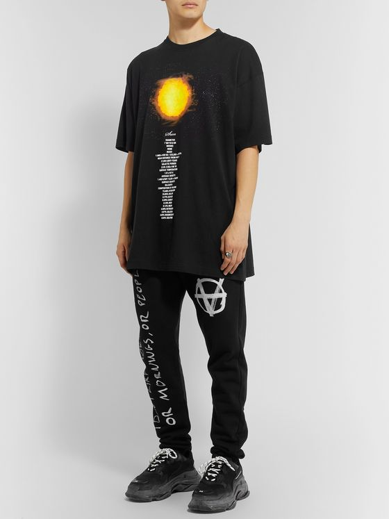 Vetements Tapered Printed Fleece-Back Cotton-Jersey Sweatpants