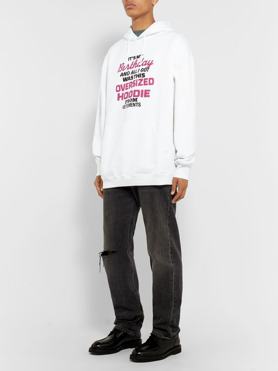 Vetements Oversized Printed Loopback Cotton-Jersey Hoodie