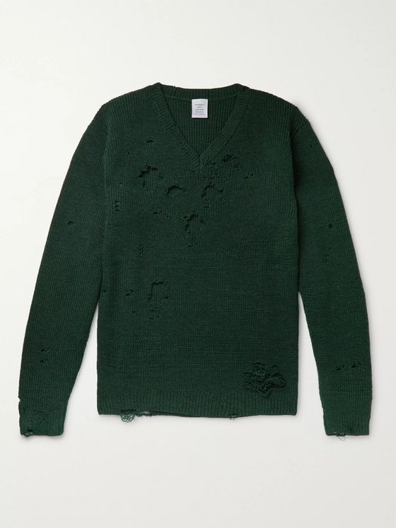 Vetements Oversized Distressed Wool Sweater