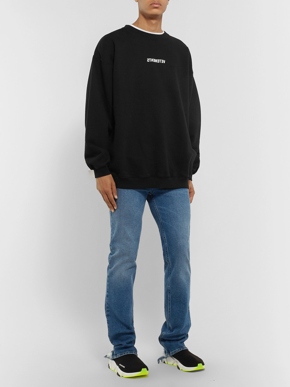 Vetements Logo-Print Fleece-Back Cotton-Jersey Sweatshirt