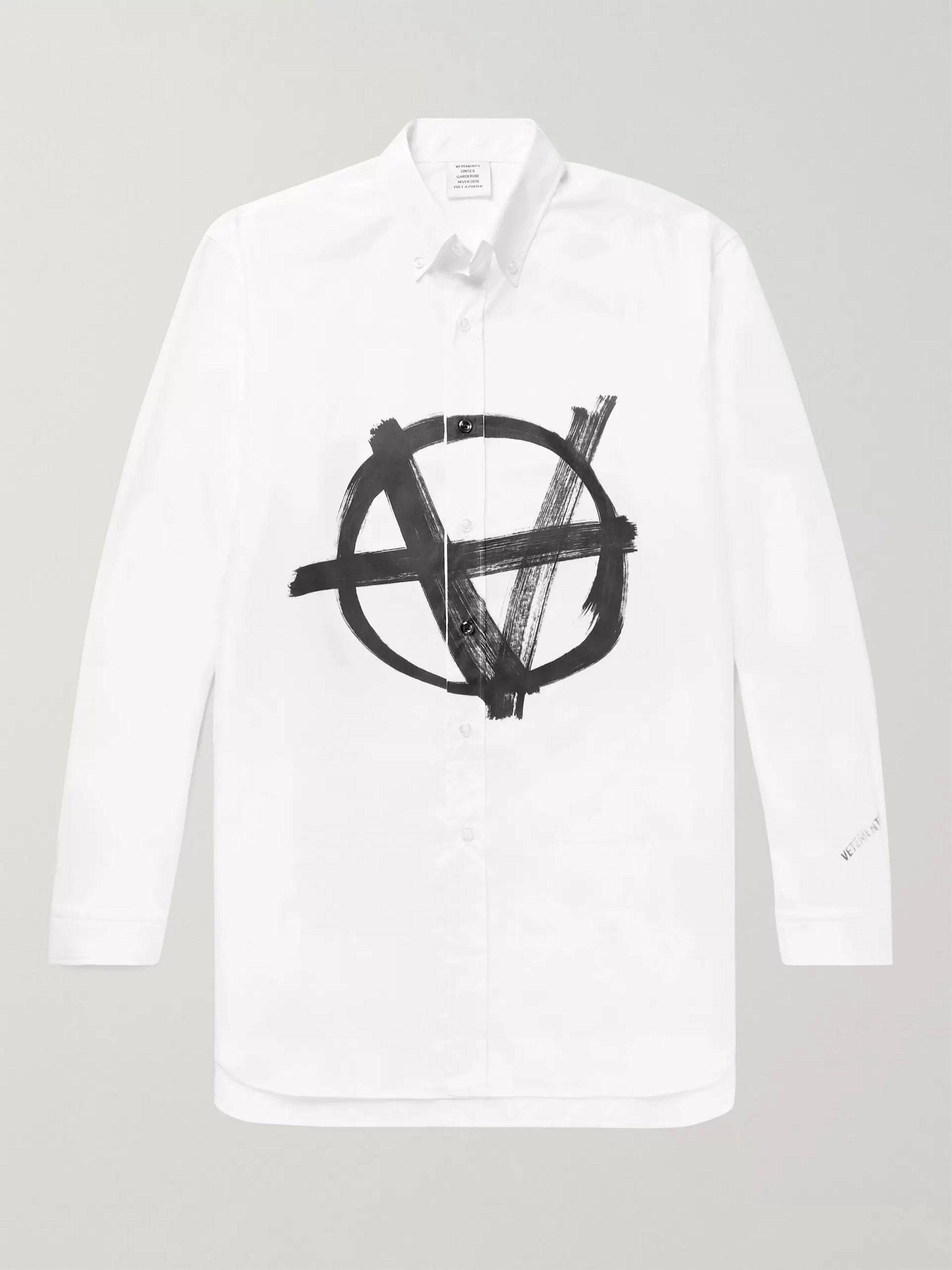 Button Down Collar Logo Print Cotton Poplin Shirt by Vetements