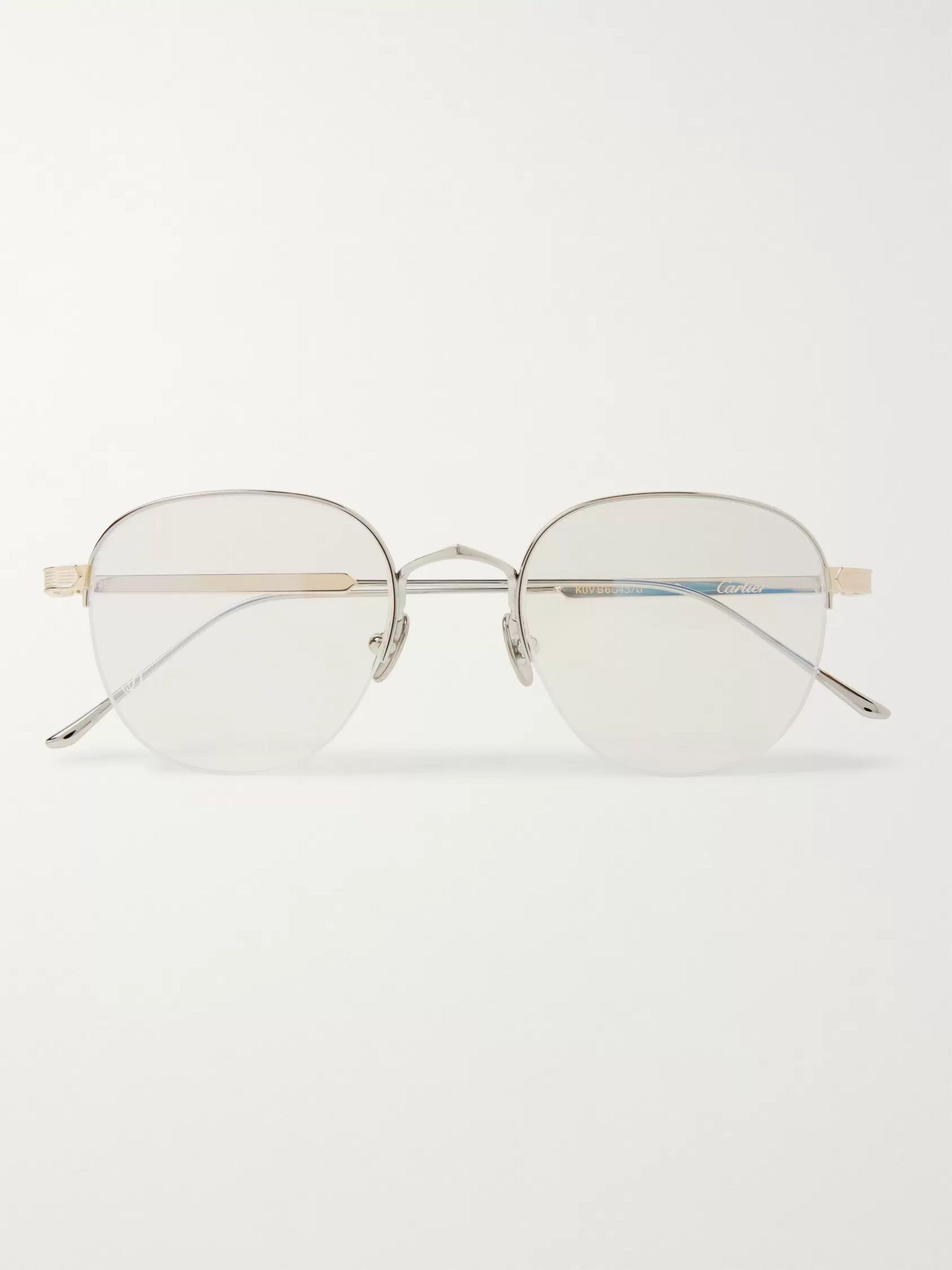 Cartier Eyewear Round-Frame Silver and Gold-Tone Optical Glasses