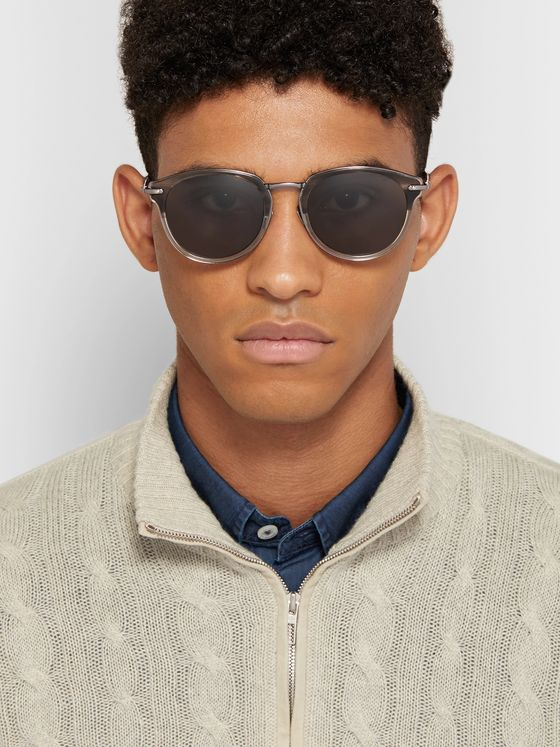 Brioni Round-Frame Acetate and Ruthenium Sunglasses