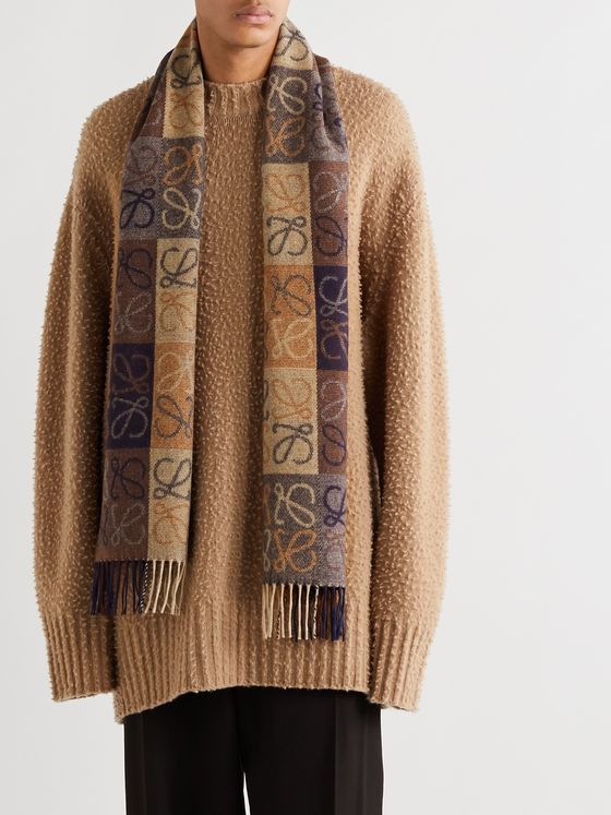 Loewe Logo-Intarsia Fringed Wool and Cashmere-Blend Scarf