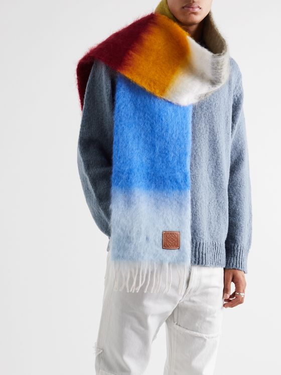 Loewe Logo-Appliquéd Colour-Block Fringed Mohair-Blend Scarf