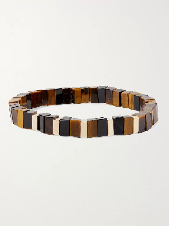 LUIS MORAIS 14-Karat Gold, Tiger's Eye and Onyx Bracelet