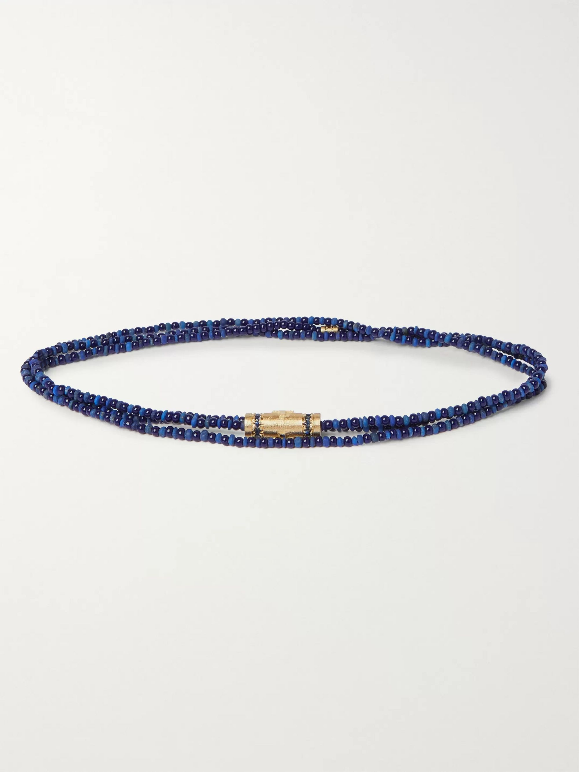 Luis Morais Gold, Sapphire and Bead Necklace