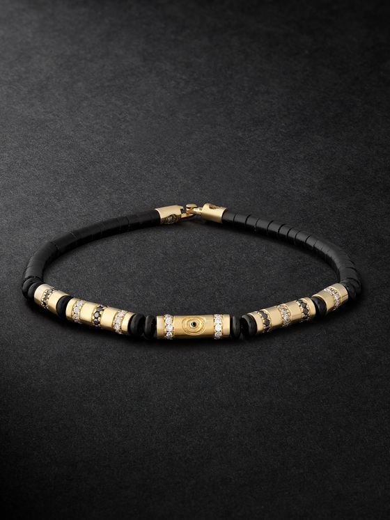 LUIS MORAIS 14-Karat Gold, Diamond and Bead Bracelet