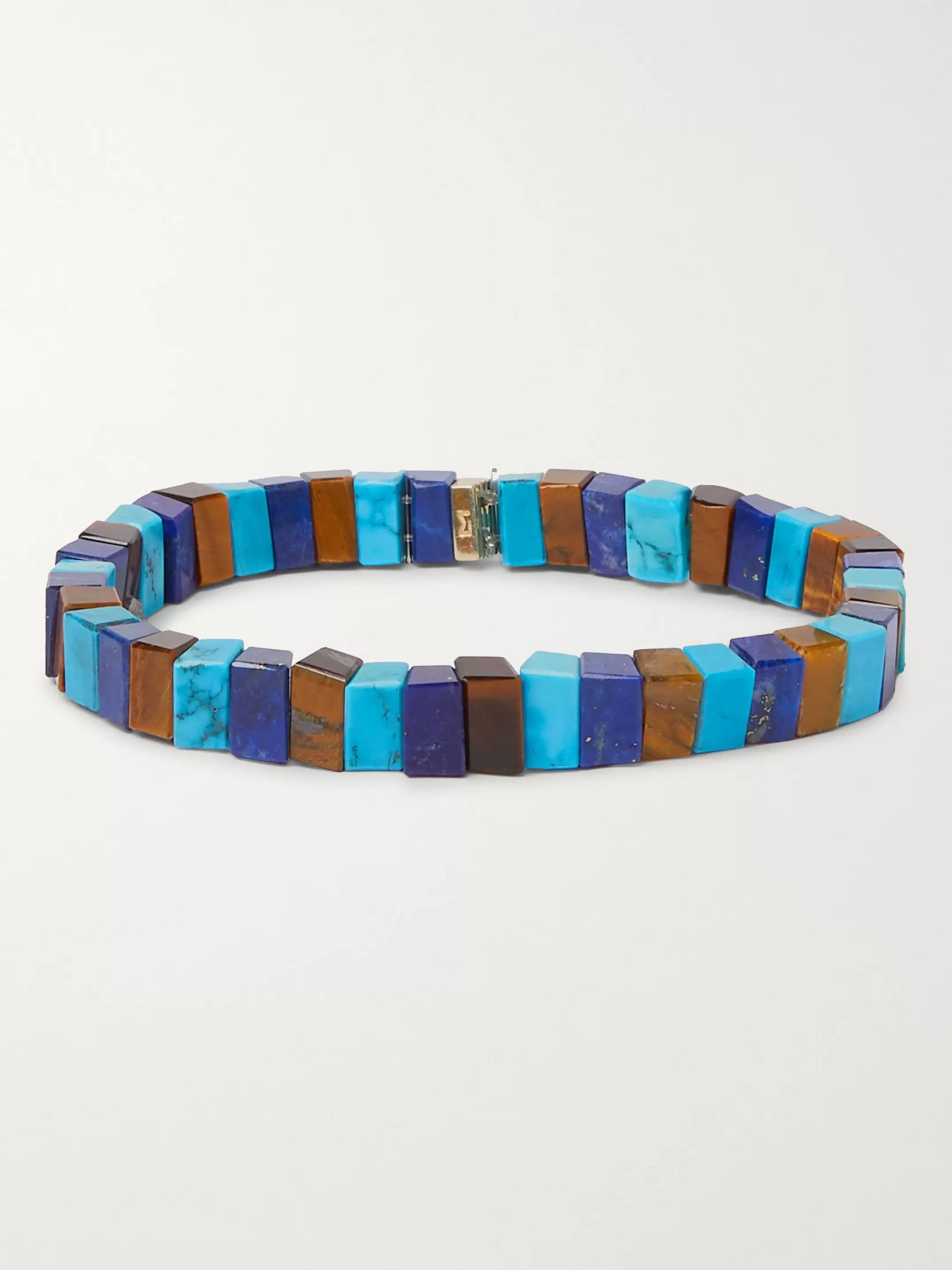 Luis Morais 14-Karat Gold Lapis, Turquoise and Tiger's Eye Bracelet