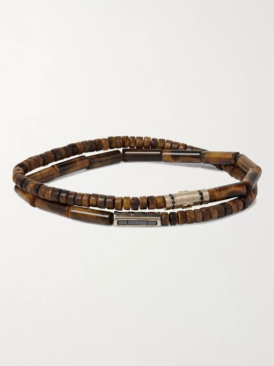 LUIS MORAIS Tiger's Eye, 14-Karat Gold and Diamond Wrap Bracelet