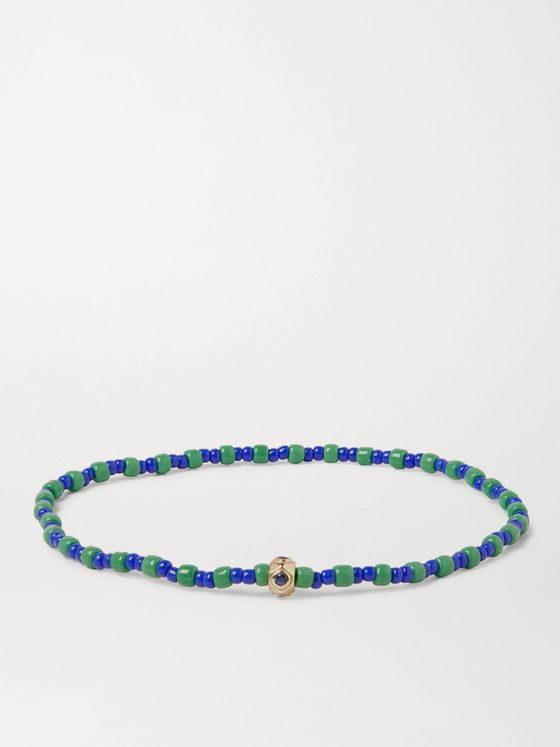 LUIS MORAIS Glass, 14-Karat Gold and Sapphire Beaded Bracelet