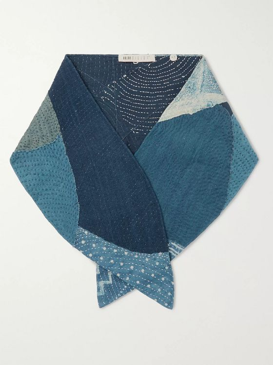 11.11/eleven eleven Patchwork Embroidered Indigo-Dyed Cotton Scarf