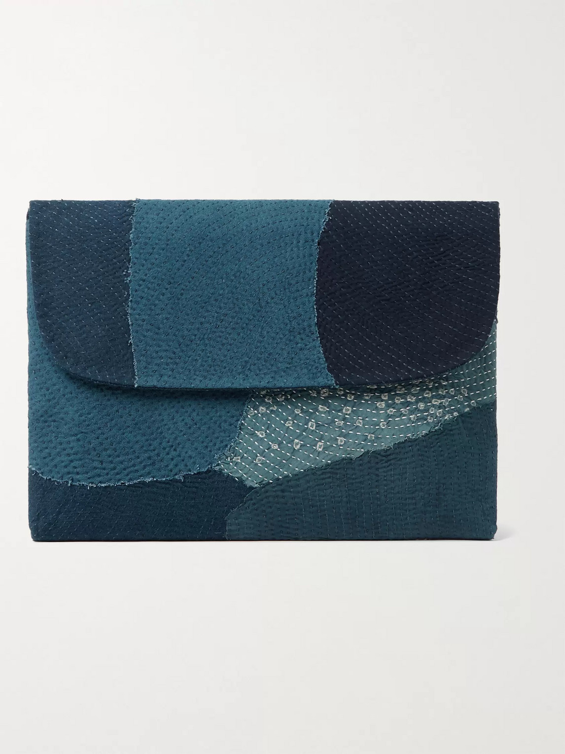 11.11/eleven Eleven Patchwork Embroidered Cotton Laptop Case In Blue