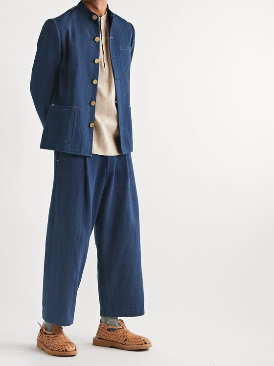 11.11/eleven eleven Ride Wide-Leg Cropped Pleated Indigo-Dyed Cotton Trousers