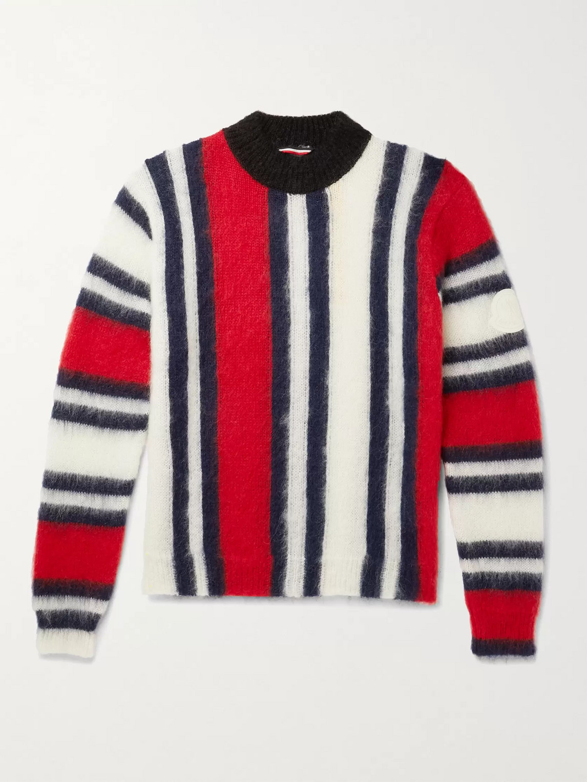 Moncler Genius 2 MONCLER 1952 STRIPED MOHAIR-BLEND MOCK-NECK SWEATER