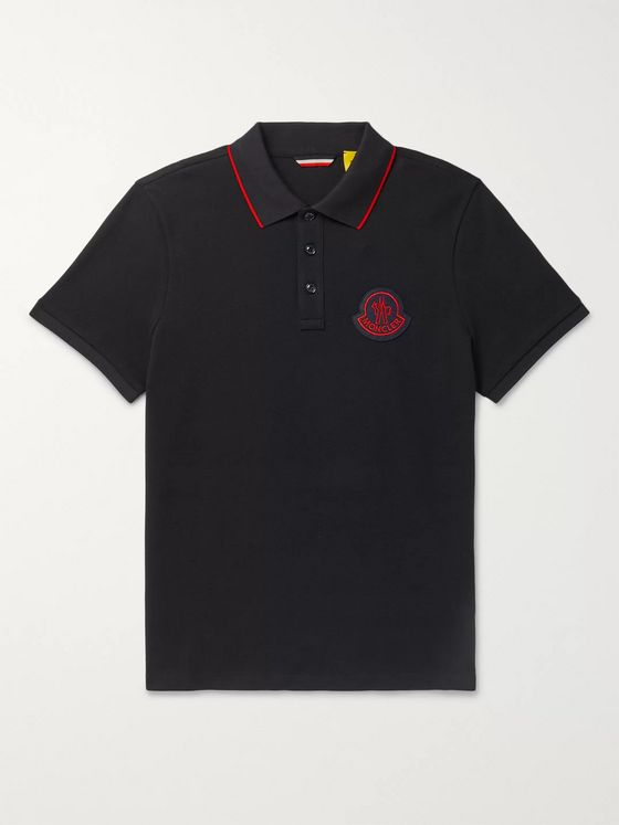 MONCLER GENIUS Slim-Fit Contrast-Tipped Logo-Appliquéd Cotton-Piqué Polo Shirt