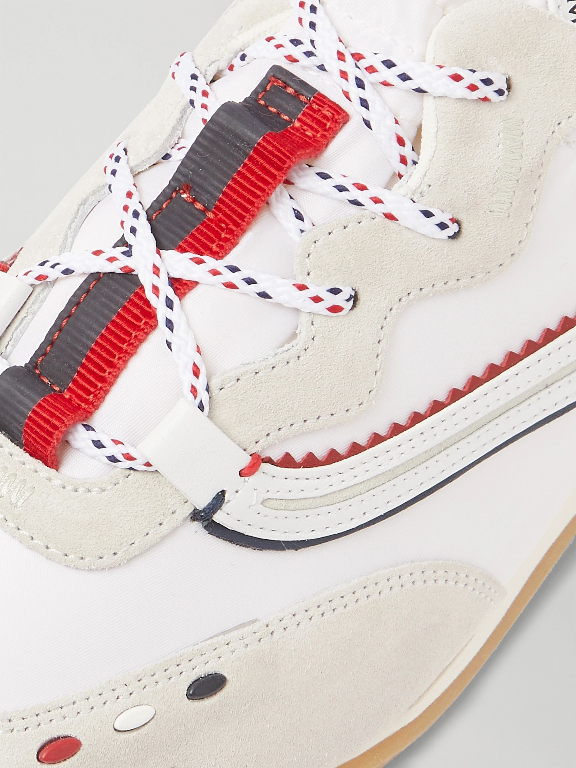 2 Moncler 1952 Leather Trimmed Canvas and Suede Sneakers