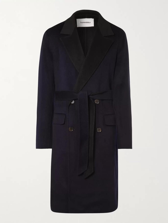 Nanushka Aiden Double-breasted Wool And Silk-blend Coat In Blue