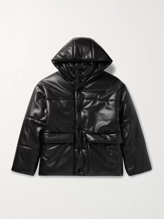 Nanushka Oversized Quilted Vegan Leather Hooded Jacket